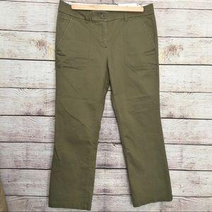 Ann Taylor LOFT Kick Crop Pants Olive 4P NWTS